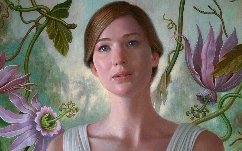 Inset of promotional poster depicting Jennifer Lawrence in Darren Aronofsky's 'mother!' (Courtesy)
