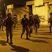 Illustrative. IDF soldiers conduct raids in the West Bank on September 28, 2017. (Israel Defense Forces)