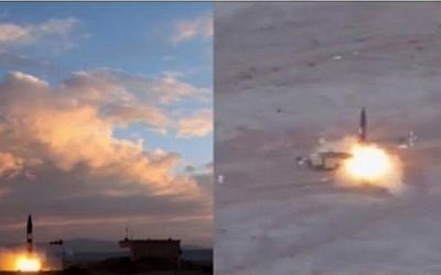 Iran said on September 23, 2017 that it successfully tested a new missile with a 2,000 km-range, which is capable of reaching Israel and US bases in the Gulf.  The missile, called the Khorramshahr, was launched from an unknown location. (Screenshot/PressTV)