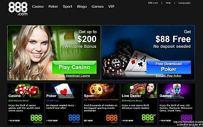Israeli-founded 888.com gambling website. (Screen capture).