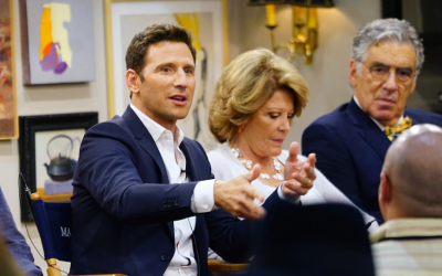 From left to right: Mark Feuerstein, Linda Lavin and Elliott Gould at the CBS Studio Center in Los Angeles, August 1, 2017. (Sonja Flemming/CBS Broadcasting Inc./via JTA)