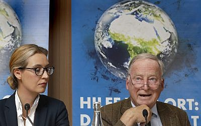 Alice Weidel, left, and Alexander Gauland, right, top candidates of the German AfD (Alternative for Germany) party for the upcoming general elections, attend a press conference in Berlin, Germany, August 21, 2017. (AP/Michael Sohn)