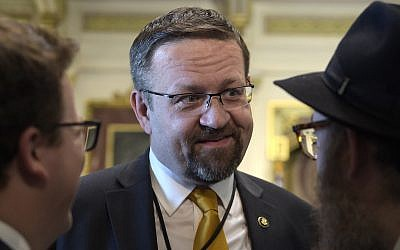 In this Tuesday, May 2, 2017, file photo, then deputy assistant to US President Donald Trump Sebastian Gorka is seen at the White House during a ceremony commemorating Israel's Independence Day. (AP Photo/Susan Walsh, File)