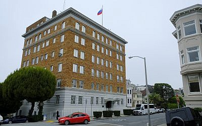 This Thursday, August 10, 2017, photo shows the Consulate-General of Russia in San Francisco. (AP Photo/Eric Risberg)