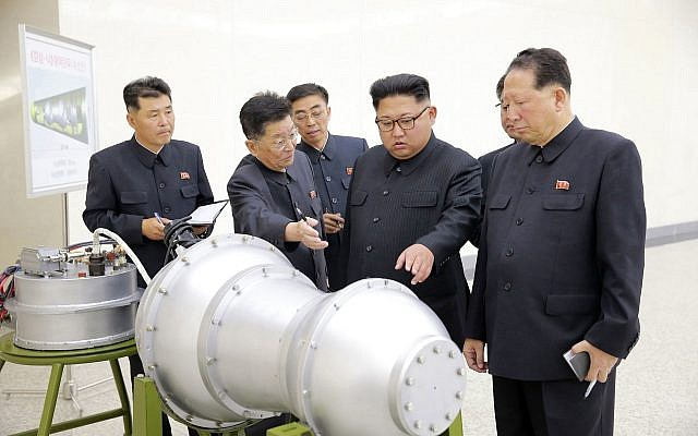 An undated image distributed by the North Korean government on September 3, 2017, shows North Korean leader Kim Jong Un at an undisclosed location. North Korea's state media said Kim inspected a hydrogen bomb. (Korean Central News Agency/Korea News Service via AP)