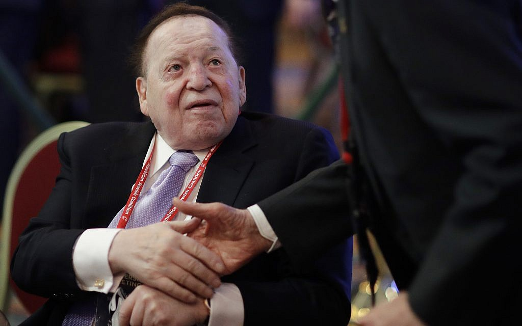 Sheldon Adelson attends the Republican Jewish Coalition annual leadership meeting in Las Vegas on February 24, 2017. (AP Photo/John Locher, File)