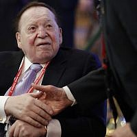 Sheldon Adelson attends the Republican Jewish Coalition annual leadership meeting in Las Vegas on Feb. 24, 2017. (AP Photo/John Locher, File)