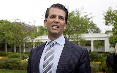 Donald Trump Jr., the son of President Donald Trump, speaks to media on the South Lawn of the White House in Washington, April 17, 2017. (AP Photo/Carolyn Kaster)