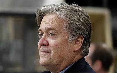 In this April 29, 2017, file photo, Steve Bannon, former chief White House strategist to US President Donald Trump, tours The AMES Companies, Inc., with the president in Harrisburg, Pennsylvania. (AP Photo/Carolyn Kaster, File)