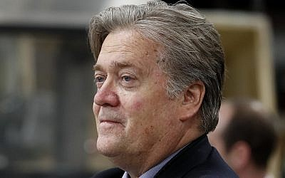 In this April 29, 2017, file photo, Steve Bannon, chief White House strategist to US President Donald Trump, tours The AMES Companies, Inc., with the president in Harrisburg, Pa. (AP Photo/Carolyn Kaster, File)