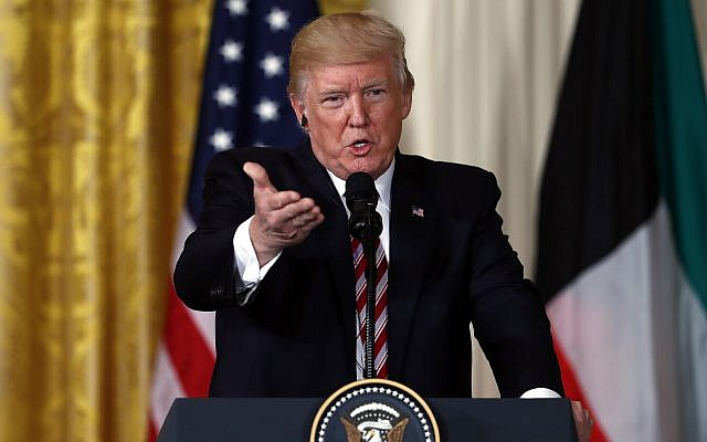 US President Donald Trump speaks during a news conference with Kuwait leader Sheikh Sabah Al Ahmad Al Sabah in the White House in Washington, September 7, 2017. (AP Photo/Carolyn Kaster)