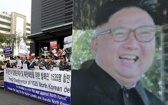 South Korean conservative activists and North Korean defectors attend a rally against North Korea and North's leader Kim Jong Un in downtown Seoul, South Korea, Friday, Sept. 8, 2017. (AP Photo/Lee Jin-man)