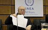 Director General of the International Atomic Energy Agency, IAEA, Yukiya Amano of Japan waits for the start of the IAEA board of governors meeting at the International Center in Vienna, Austria, September 11, 2017. (AP/Ronald Zak)