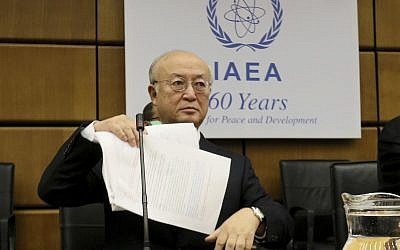 Director General of the International Atomic Energy Agency, IAEA, Yukiya Amano of Japan waits for the start of the IAEA board of governors meeting at the International Center in Vienna, Austria, September 11, 2017. (AP Photo/Ronald Zak)