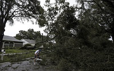 Brian Baker, of Valrico, Florida, cuts an Oak tree that fell across Falling Leaves Drive after Hurricane Irma passed through the area, Monday, Sept. 11, 2017, in Valrico, Florida. (AP Photo/Chris O'Meara)