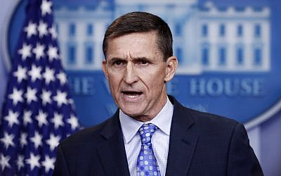 In this file photo from Feb. 1, 2017, then US national security adviser Michael Flynn speaks during the daily news briefing at the White House. (AP Photo/Carolyn Kaster)