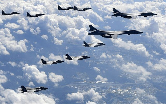 US Air Force B-1B bombers, F-35B stealth fighter jets and South Korean F-15K fighter jets fly over the Korean Peninsula during joint drills on September 18, 2017 .(South Korea Defense Ministry via AP)