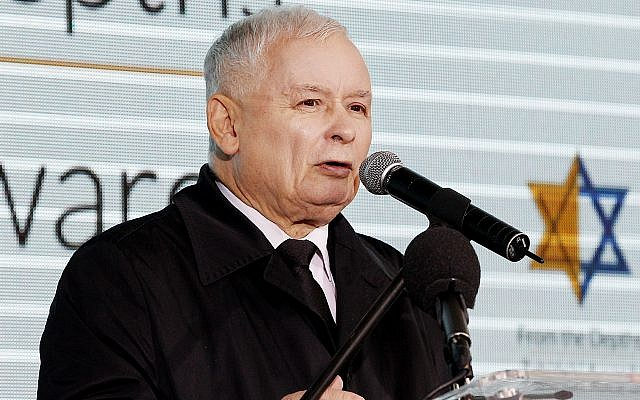 The leader of Poland's ruling Law and Justice party Jaroslaw Kaczynski gives a speech denouncing anti-Semitism and praising Israel at a ceremony honoring Poles who protected Jews during the Holocaust, in Warsaw, Poland, September 18, 2017. (AP Photo/Czarek Sokolowski)