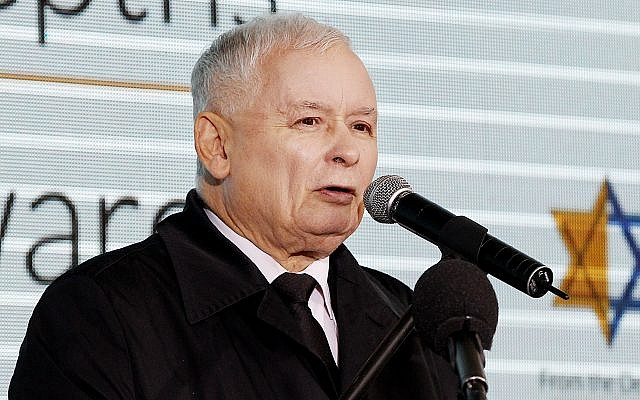 Poland's most powerful politician Jaroslaw Kaczynski, the leader of the ruling party, speaks to denounce anti-Semitism and praise Israel at a ceremony honoring Poles who protected Jews during the Holocaust, in Warsaw, Poland, September 18, 2017.(AP Photo/Czarek Sokolowski)