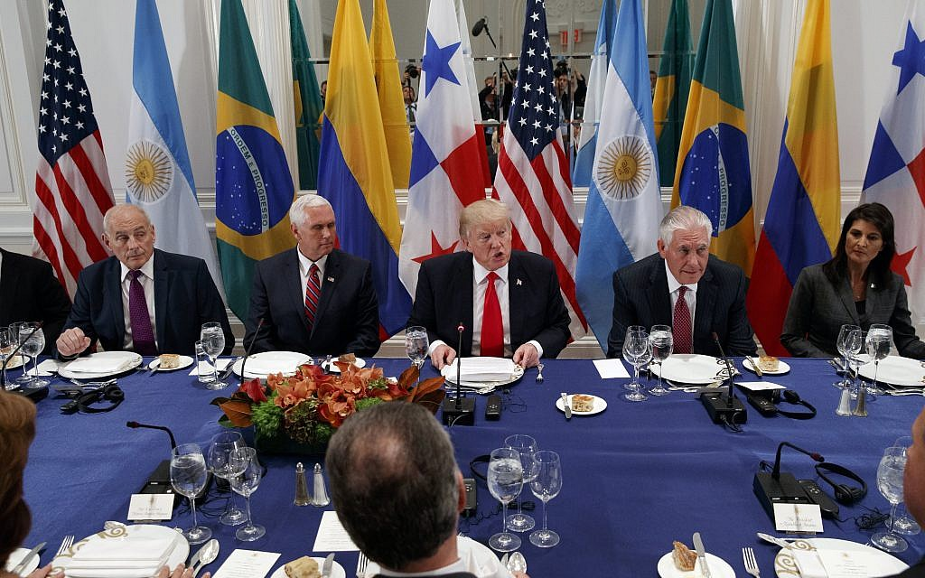 Illustrative: US President Donald Trump speaks during a dinner with Latin American leaders at the Palace Hotel during the United Nations General Assembly, September 18, 2017, in New York, with from left, White House chief of staff John Kelly, Vice President Mike Pence, Trump, Secretary of State Rex Tillerson, and United States Ambassador to the United Nations Nikki Haley. (AP Photo/Evan Vucci)