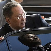 In this Sept. 19, 2017, photo, North Korean Foreign Minister Ri Yong Ho gets into a car at Beijing Capital International Airport (AP Photo/Mark Schiefelbein, File)