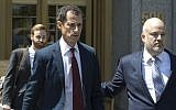 Anthony Weiner leaves federal court in New York after pleading guilty to a charge of sending sexual material to a minor, May 19, 2017. (AP Photo/Mary Altaffer, File)