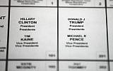 This Oct. 14, 2016 file photo shows Democratic presidential candidate Hillary Clinton's and Republican presidential candidate Donald Trump's names printed on a ballot on a voting machine to be used in the upcoming election, in Philadelphia.  (AP/Matt Rourke)