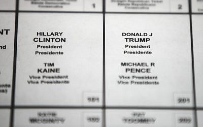 File photo from October 14, 2016, shows Democratic presidential candidate Hillary Clinton's and Republican presidential candidate Donald Trump's names printed on a ballot on a voting machine to be used in the upcoming election, in Philadelphia. (AP/Matt Rourke, File)