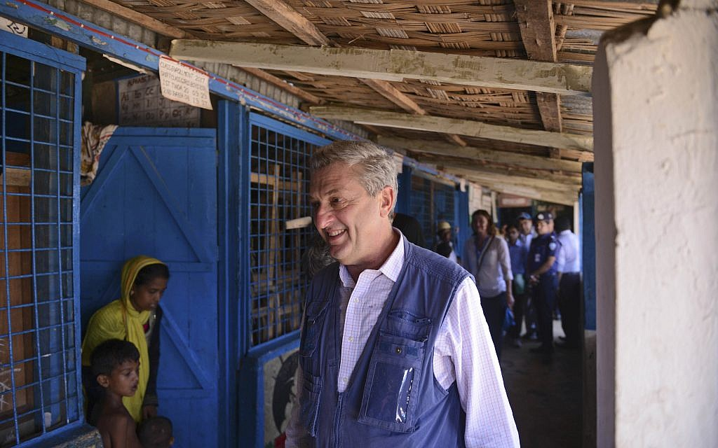 UN High Commissioner for Refugees Filippo Grandi visits a school that has been turned to a temporary camp for newly arrived Rohingya Muslims at Kutupalong, Bangladesh, Saturday, Sept. 23, 2017. (AP Photo/Ziaul Haque Oisharjh)