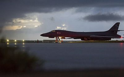 In this image provided by the U.S. Air Force, a U.S. Air Force B-1B Lancer, assigned to the 37th Expeditionary Bomb Squadron, deployed from Ellsworth Air Force Base, S.D., prepares to take off from Andersen AFB, Guam, on Saturday, Sept. 23, 2017. The Pentagon says B-1B bombers from Guam and F-15 fighter escorts from Okinawa, Japan, have flown a mission in international airspace over the waters east of North Korea. (Staff Sgt. Joshua Smoot/U.S. Air force via AP)