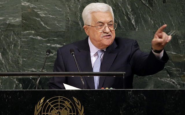 Palestinian Authority President Mahmoud Abbas speaks during the United Nations General Assembly at UN headquarters, September 20, 2017. (AP/Seth Wenig)