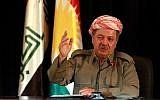 The President of Iraq's autonomous Kurdish region, Massoud Barzani, speaks to reporters during a press conference at the Salah al-Din resort, in Erbil, Iraq, Sunday, Sept. 24, 2017. (AP Photo/Khalid Mohammed)