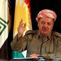 The President of Iraq's autonomous Kurdish region, Massoud Barzani, speaks to reporters during a press conference at the Salah al-Din resort, in Erbil, Iraq, Sunday, Sept. 24, 2017. (AP Photo/Khalid Mohammed)