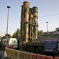 A Russian-made S-300 air defense system is on display for the annual Defense Week, marking the 37th anniversary of the 1980s Iran-Iraq war, at Baharestan Square in Tehran, Iran, Sunday, September 24, 2017. (AP Photo/Vahid Salemi)