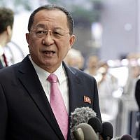 North Korea's Foreign Minister Ri Yong Ho speaks outside the UN Plaza Hotel, in New York, September 25, 2017. (AP Photo/Richard Drew)