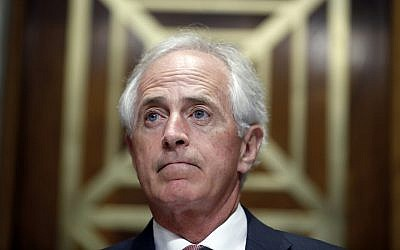 Chairman Bob Corker (Republican-Tennessee) before a hearing of the Senate Foreign Relations Committee on on Capitol Hill, September 19, 2017. (AP/Alex Brandon)