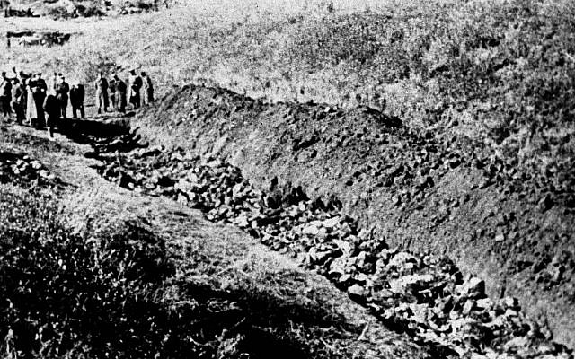 A 1944 file photo of part of the Babi Yar ravine at the outskirts of Kiev, Ukraine where the advancing Red Army unearthed the bodies of 14,000 civilians killed by fleeing Nazis. (AP)