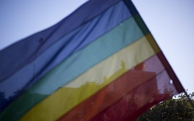 Illustrative image of a rainbow flag, seen during the annual gay pride parade in central Jerusalem, July 21, 2016. (AP Photo/Ariel Schalit)