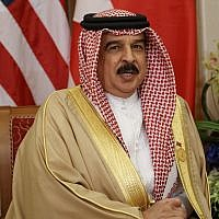 Bahrain's King Hamad bin Isa Al Khalifa speaks during a meeting with US President Donald Trump, May 21, 2017, in Riyadh. (AP Photo/ Evan Vucci)