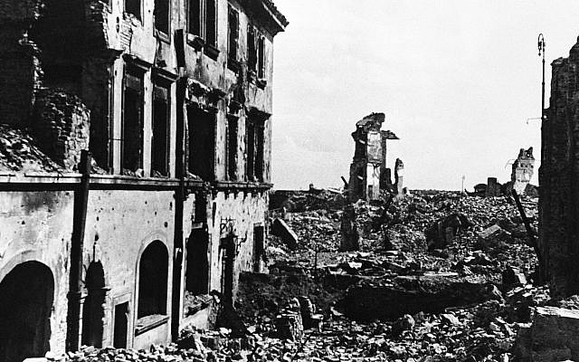 This Sept. 27, 1945, photo shows the shattered shell of the American Consulate building in devastated Warsaw, Poland, after World War II. (Bille Allen/AP, file)