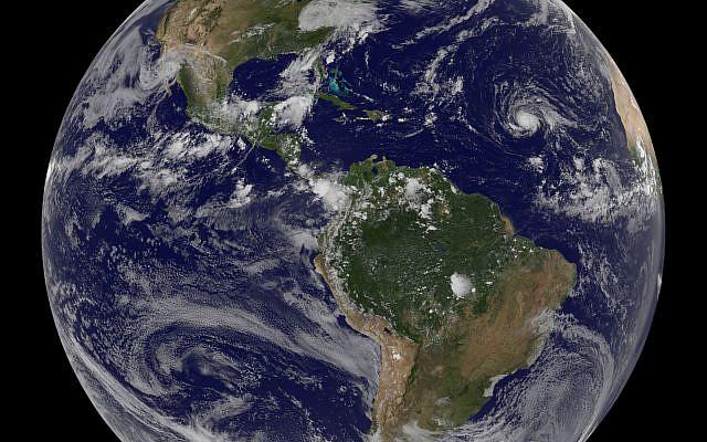 Enhanced satellite image showing Hurricane Irma, in the middle of the Atlantic Ocean, September 2, 2017.  (NASA/NOAA via AP)