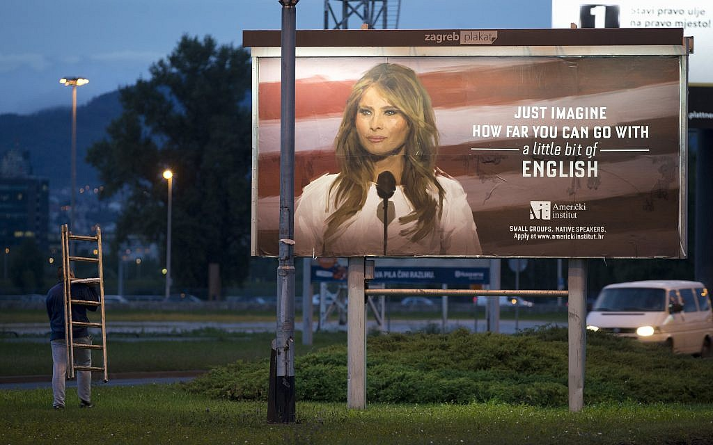 A billboard depicting the first lady Melania Trump and advertising a language school displayed in Zagreb, Croatia, September 15, 2017. (AP Photo/Darko Bandic)
