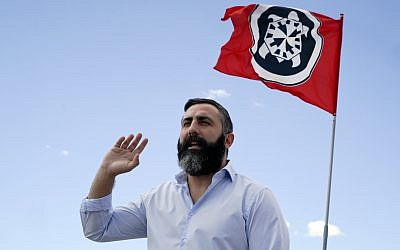 CasaPound militant Davide Di Stefano in CasaPound headquarters in Rome, September 20, 2017. (AP Photo/Andrew Medichini)