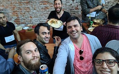 Participants at an event dubbed the First World Championship of Hummus held in Buenos Aires, Sept. 17, 2017. (Courtesy of Muslim and Jewish Fans of Hummus)