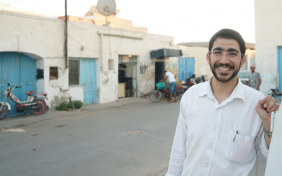 Ben Zion Dee'ie taking a break from Rosh Hashanah preparations in the Jewish town of Hara Kebira on the Tunisian island of Djerba, September 20, 2017. (Cnaan Liphshiz/JTA)