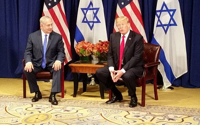 US President Donald Trump meets with Israel Prime Minister Benjamin Netanyahu in New York on the eve of the UN General Assembly on September 18, 2017. (GPO)