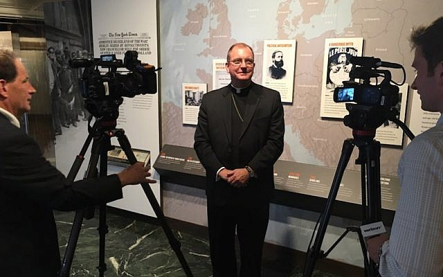 Bishop John Barres at the Holocaust Memorial and Tolerance Center of Nassau County in Glen Cove, NY, September 26, 2017. (Diocese of RVC)
