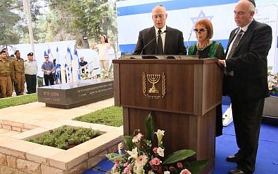 The three children of former president Shimon Peres at a memorial service for marking a year since his death, September 14, 2017. (Josef Avi Yair Engel)