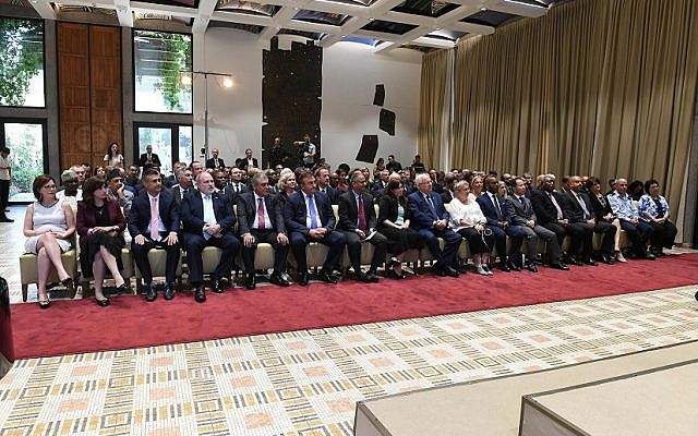 President Reuven Rivlin joins foreign ambassadors to Israel and members of the diplomatic corps for a Rosh Hashanah reception at the President's Residence in Jerusalem, September 18, 2017. (Mark Neiman/GPO)