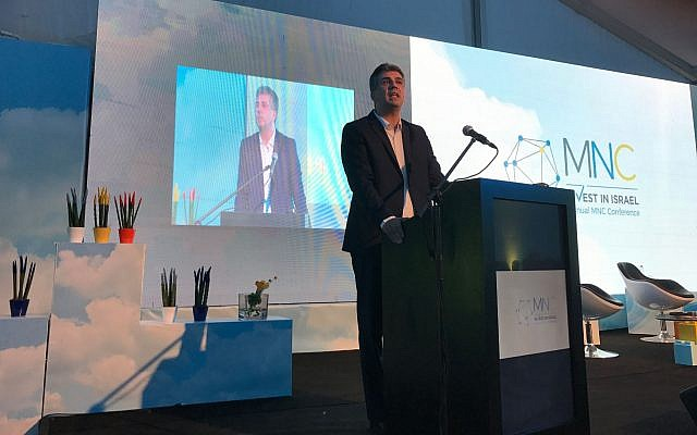 Minister of Economy, Eli Cohen, speaking at the Invest in Isarel event at DLD Tel Aviv, on Sept. 6, 2017. (Shoshanna Solomon/Times of Israel)